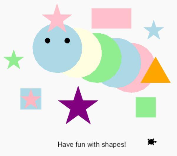 Python via Trinket (1) – Having fun with shapes !